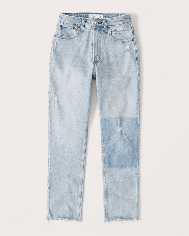Light washed denim mom jeans