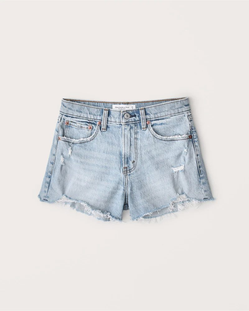 Light denim ripped shorts