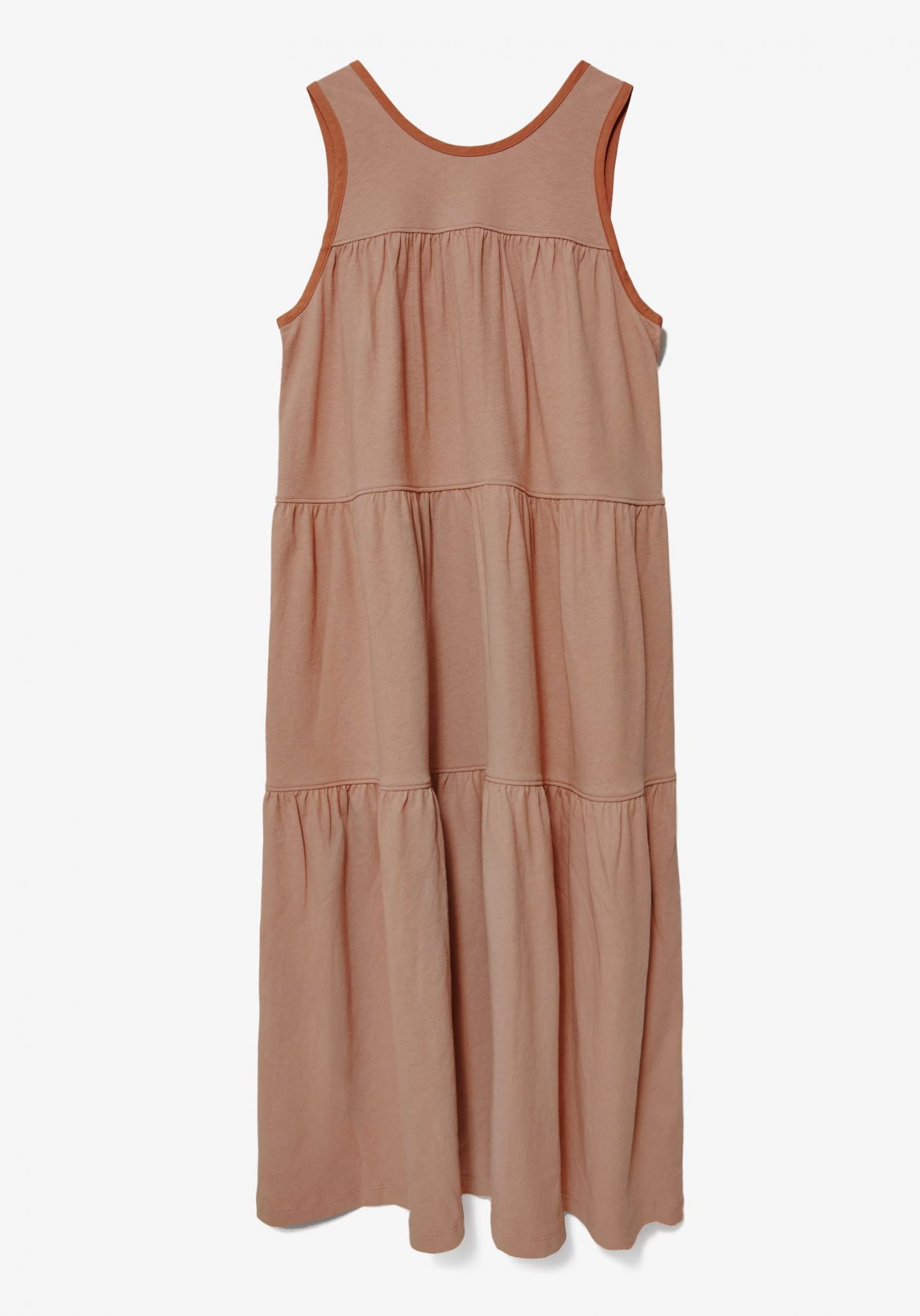 Sustainable tan tiered dress