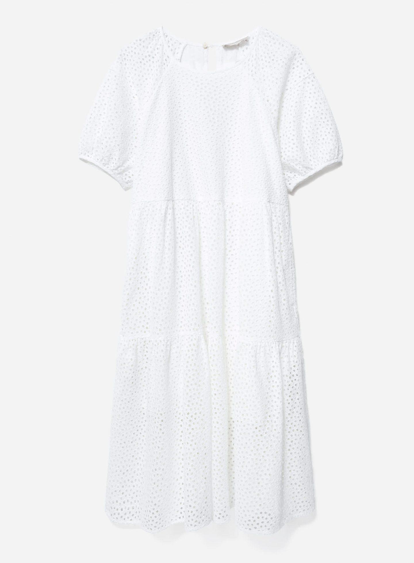 Sustainable white eyelet dress