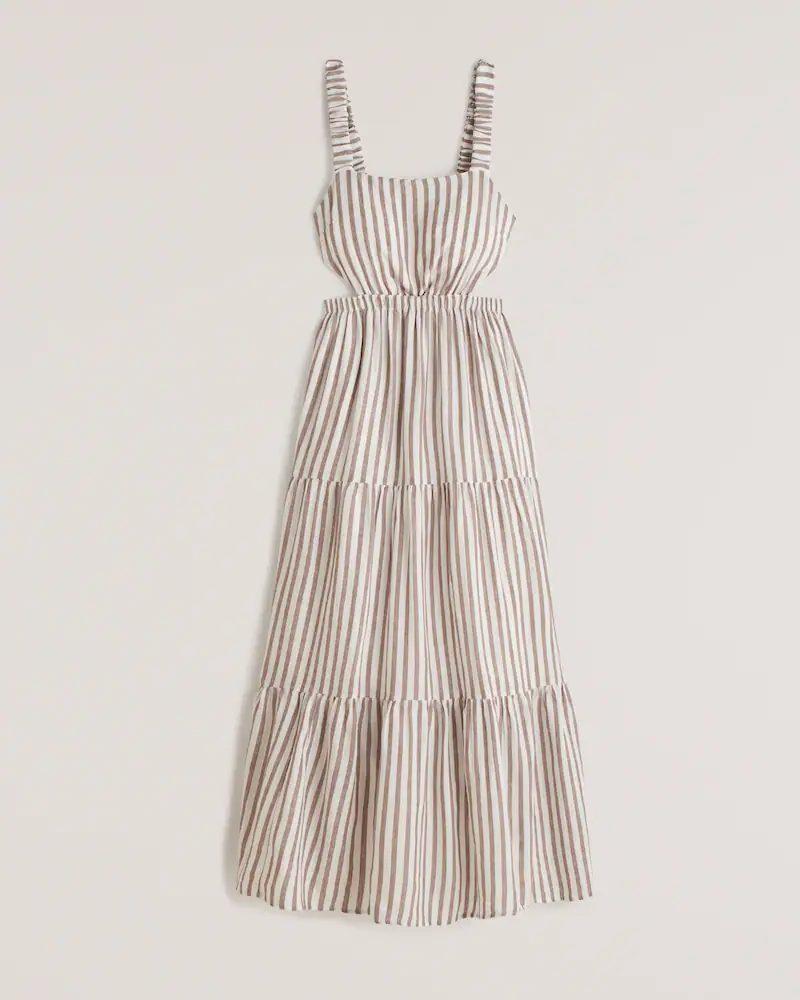 Linen striped cut out maxi dress