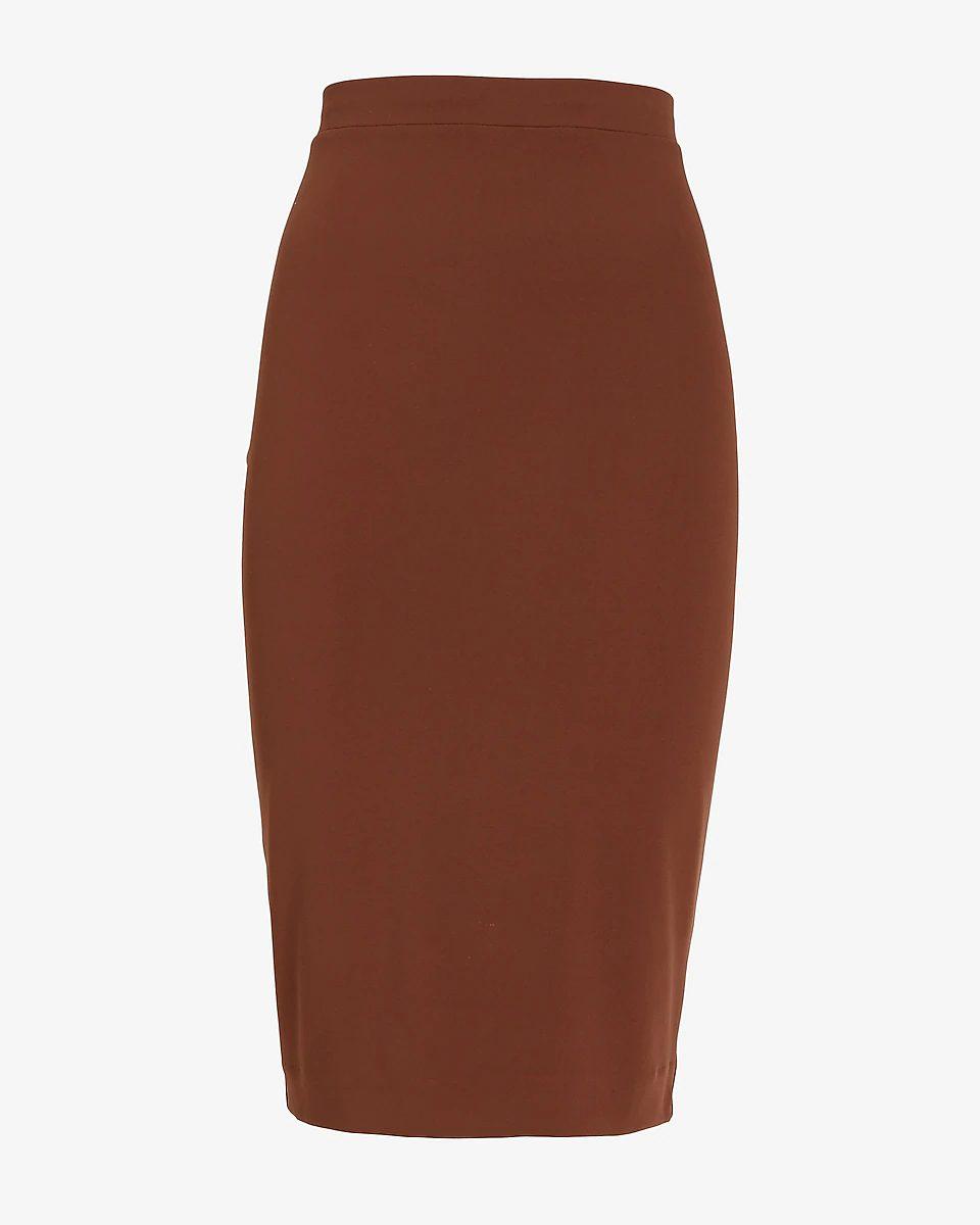 Brown figure hugging midi skirt