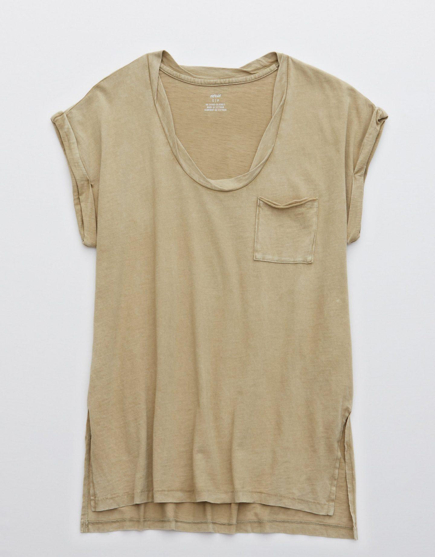 Beige oversized t-shirt with pocket