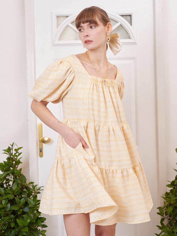 Yellow cottagecore picnic dress