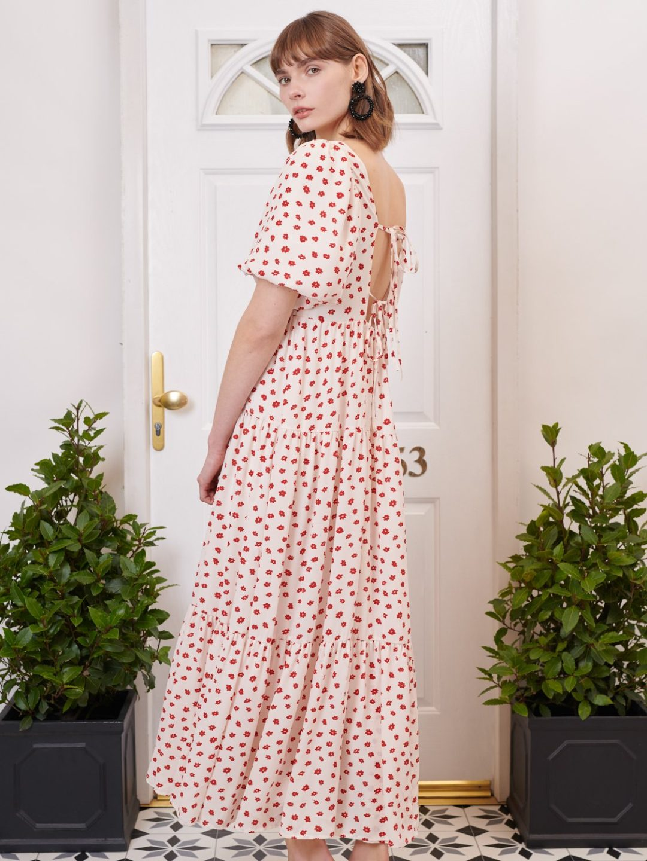 Red polka dot picnic dress