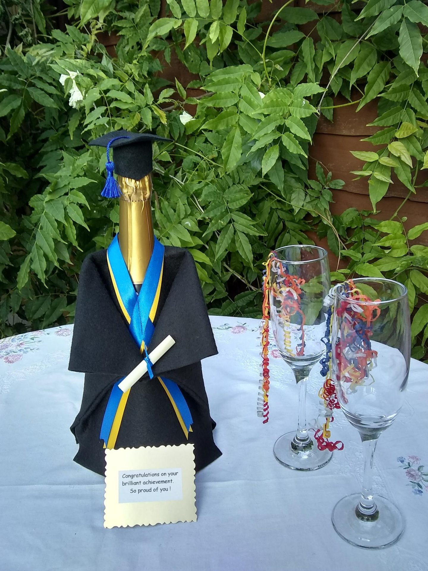 Graduation party decorations with cap and gown