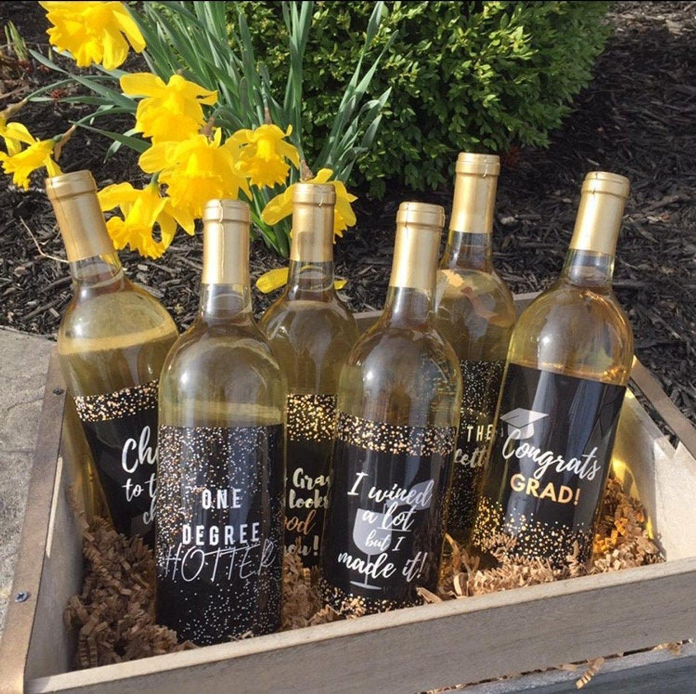 Graduation party decorations: wine bottle labels