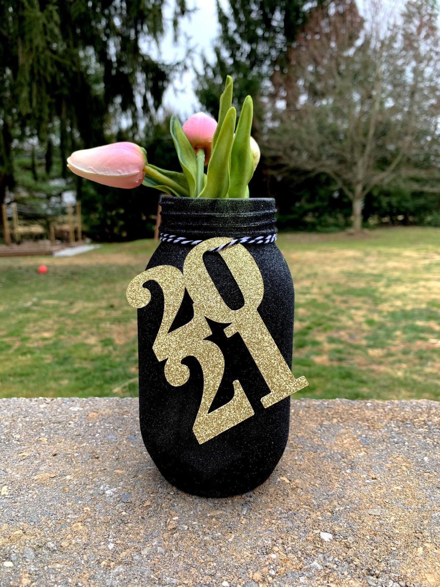 Gold graduation tags and mason jars