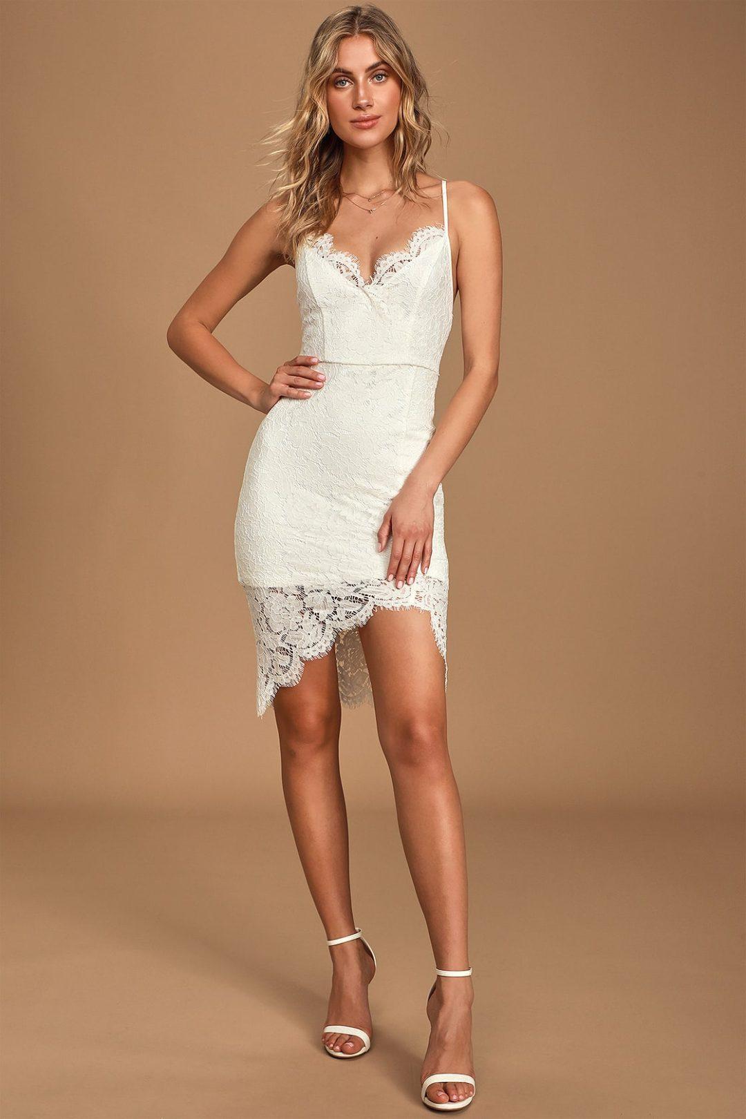 Asymmetrical white lace graduation dress