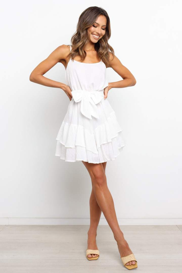 Cute white graduation dress with ribbon