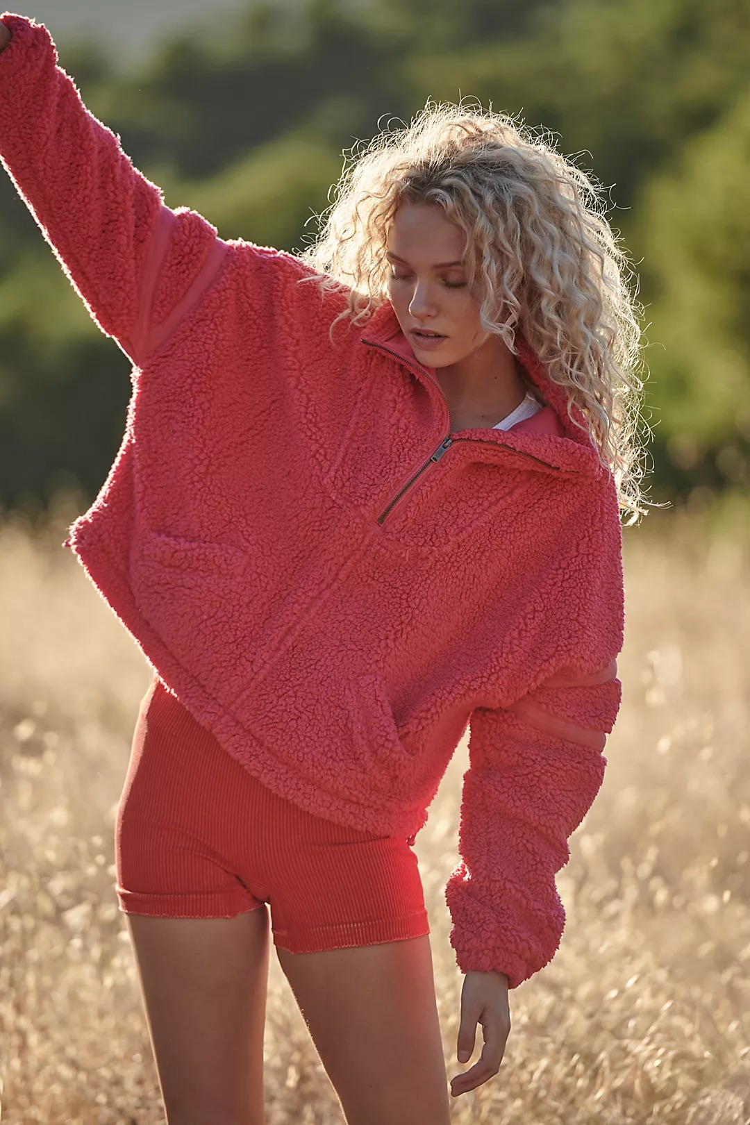 Red fleece with red bike shorts