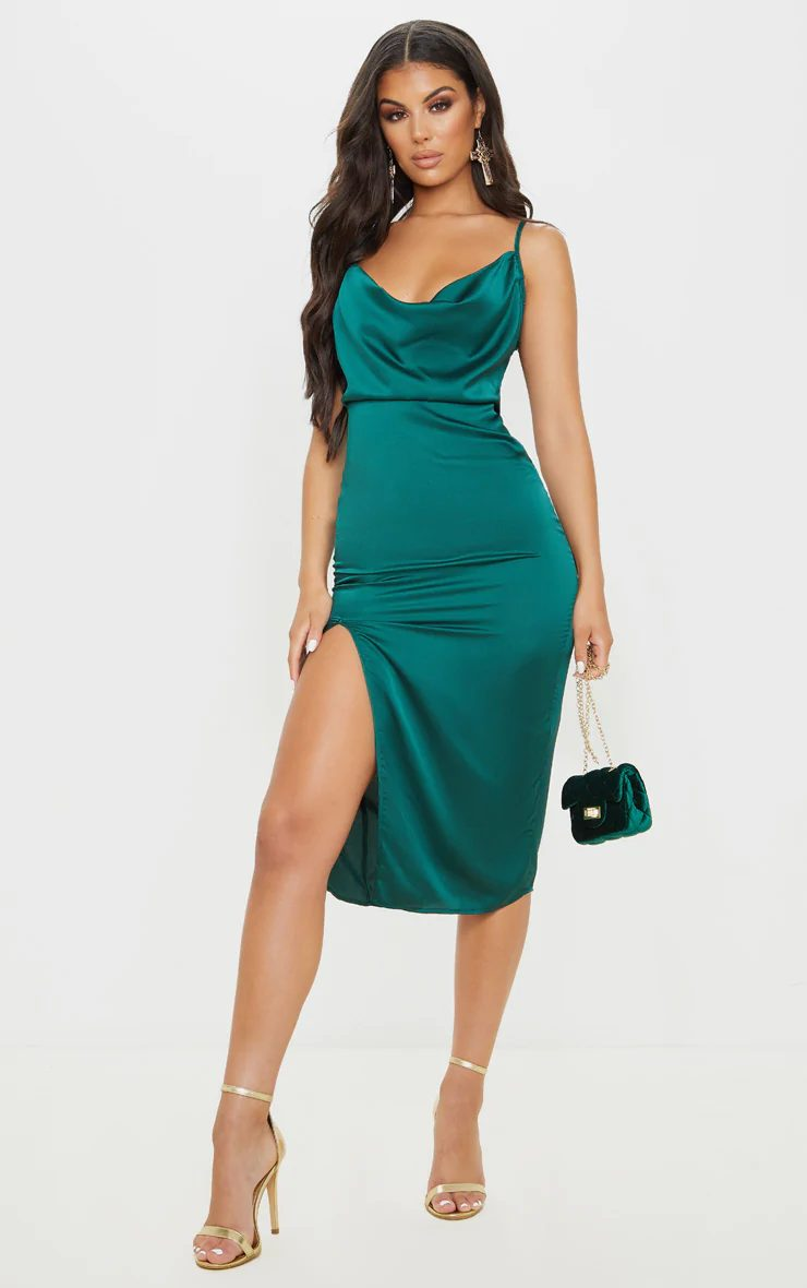 Satin teal dress for nights out