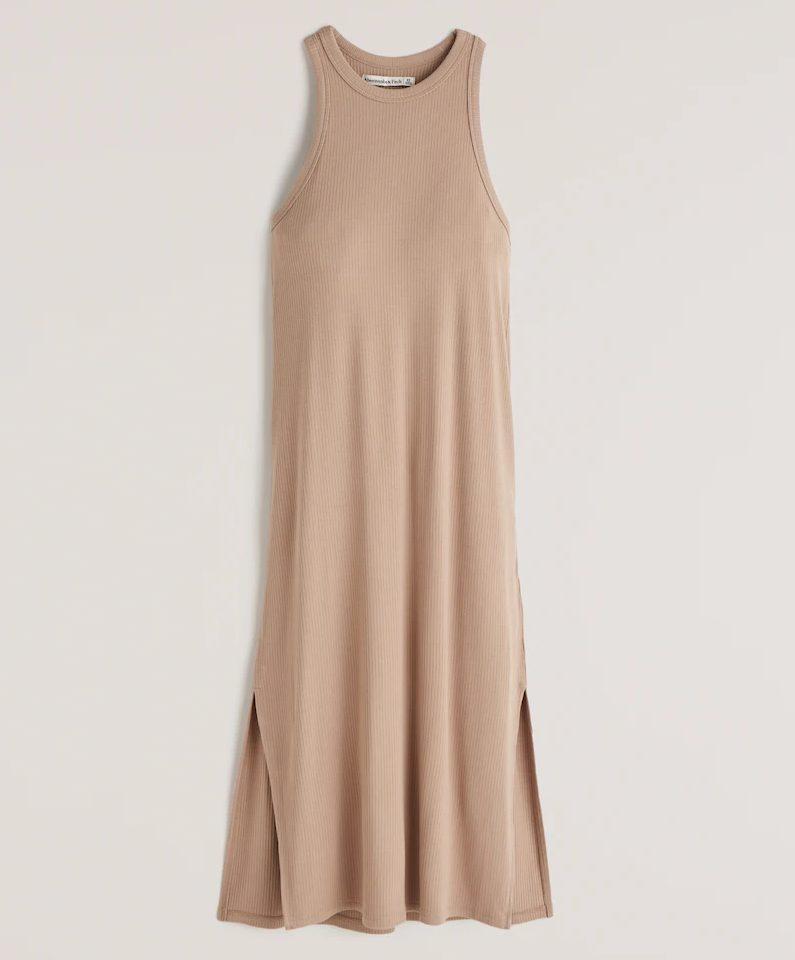 Tan midi length tank dress