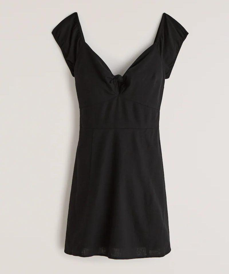 Black front tie mini dress for summer