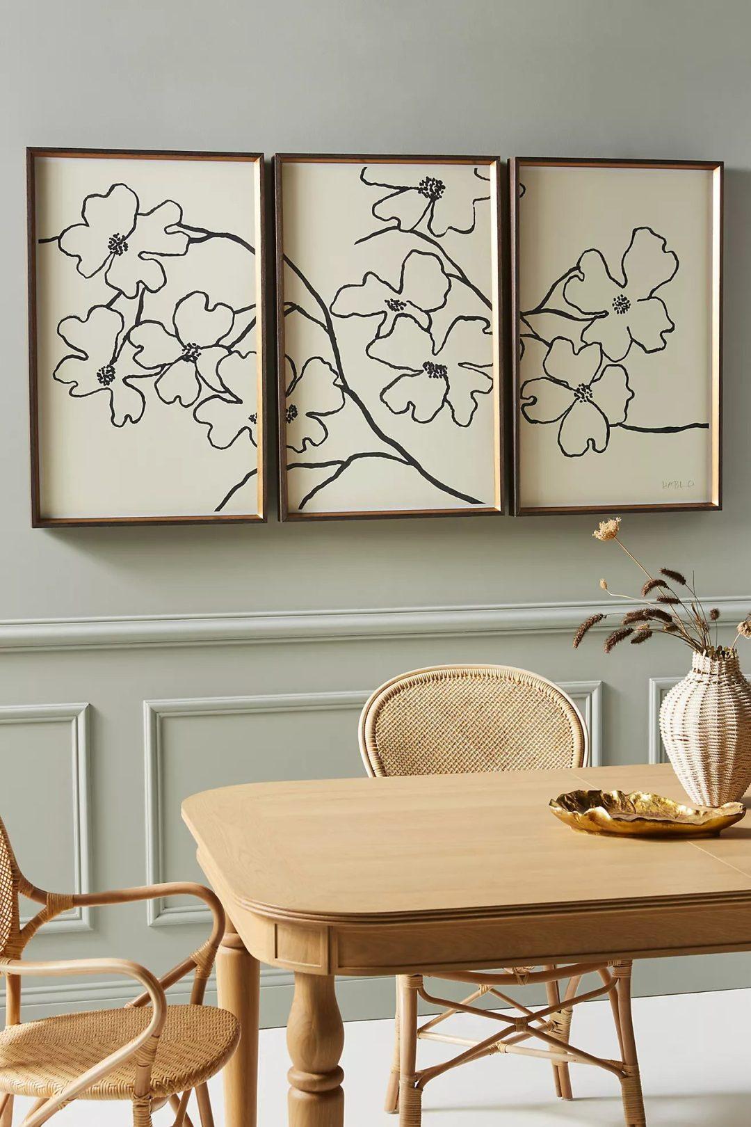 Flower wall art spit in three