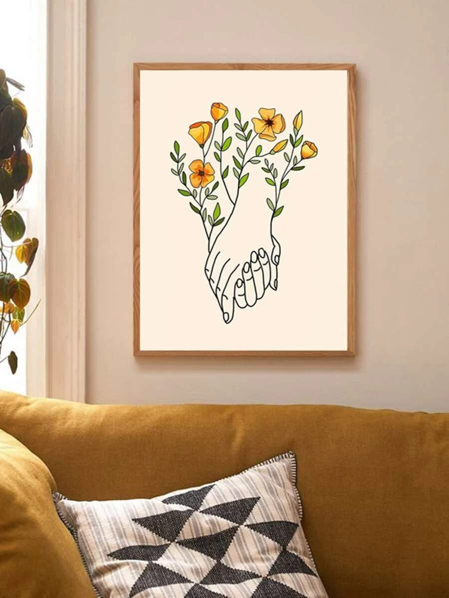 Abstract wal decor with hands and flowers