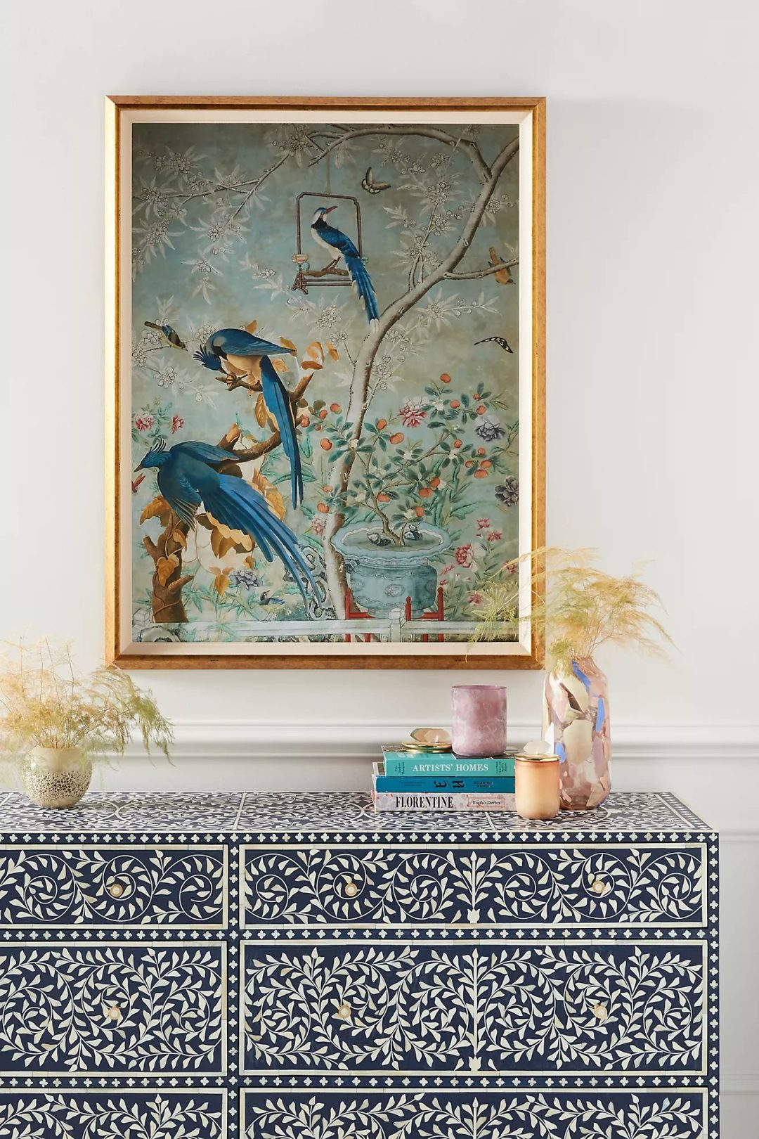 Wall art idea with blue birds and tropical vibes