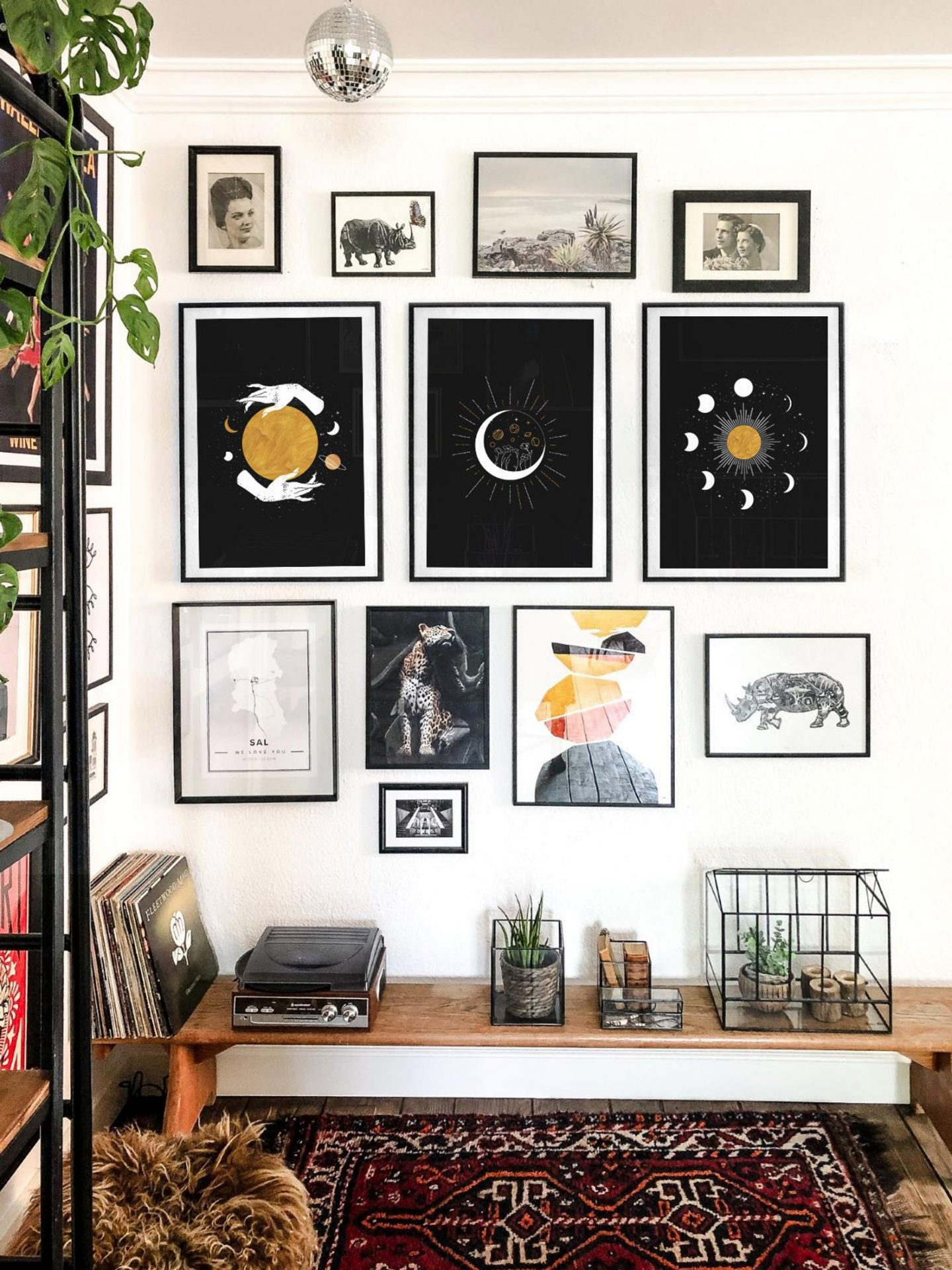Black celestial wall decor poster set with moon and stars