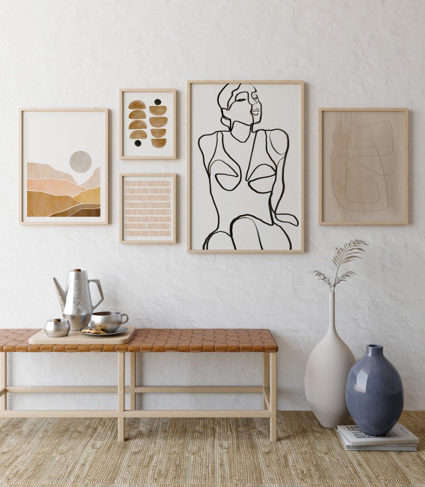 Nude and brown abstract wall decor with female figure