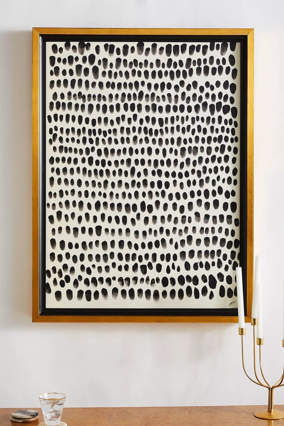Abstract black and white wall art with dots