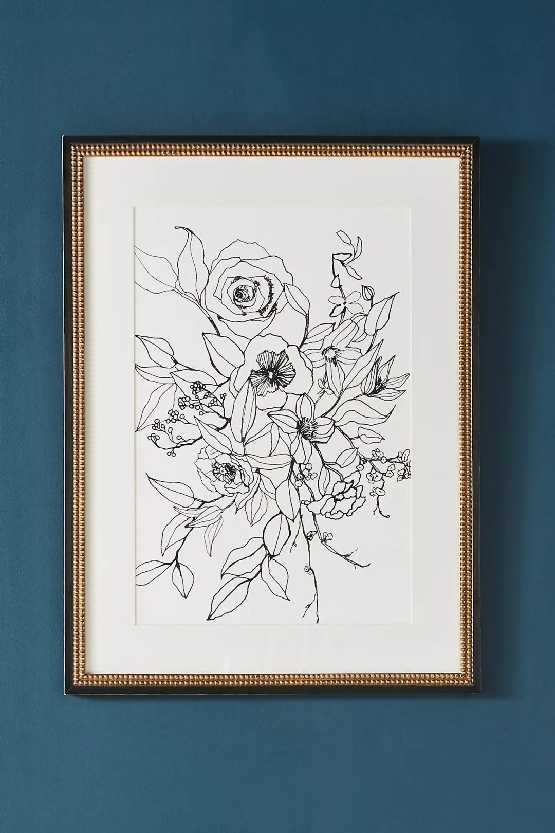 Abstract modern flower wall decor with lines in black and white