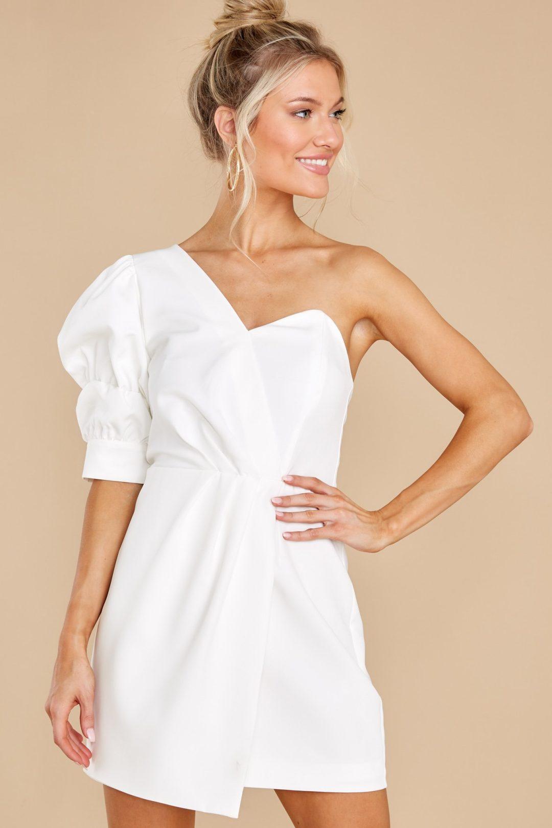 Cute off shoulder asymmetrical white graduation dress