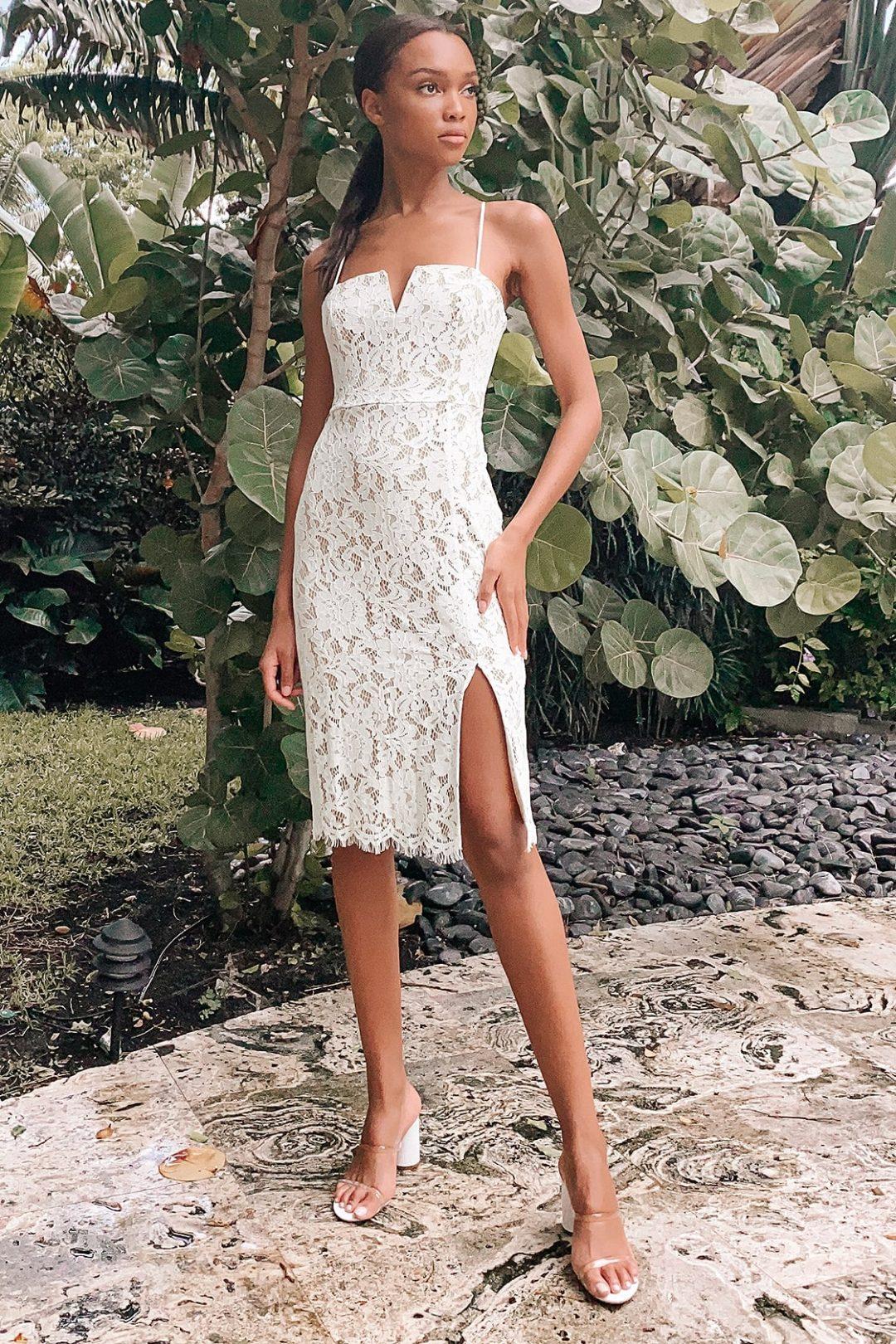 Beautiful white lace graduation dress