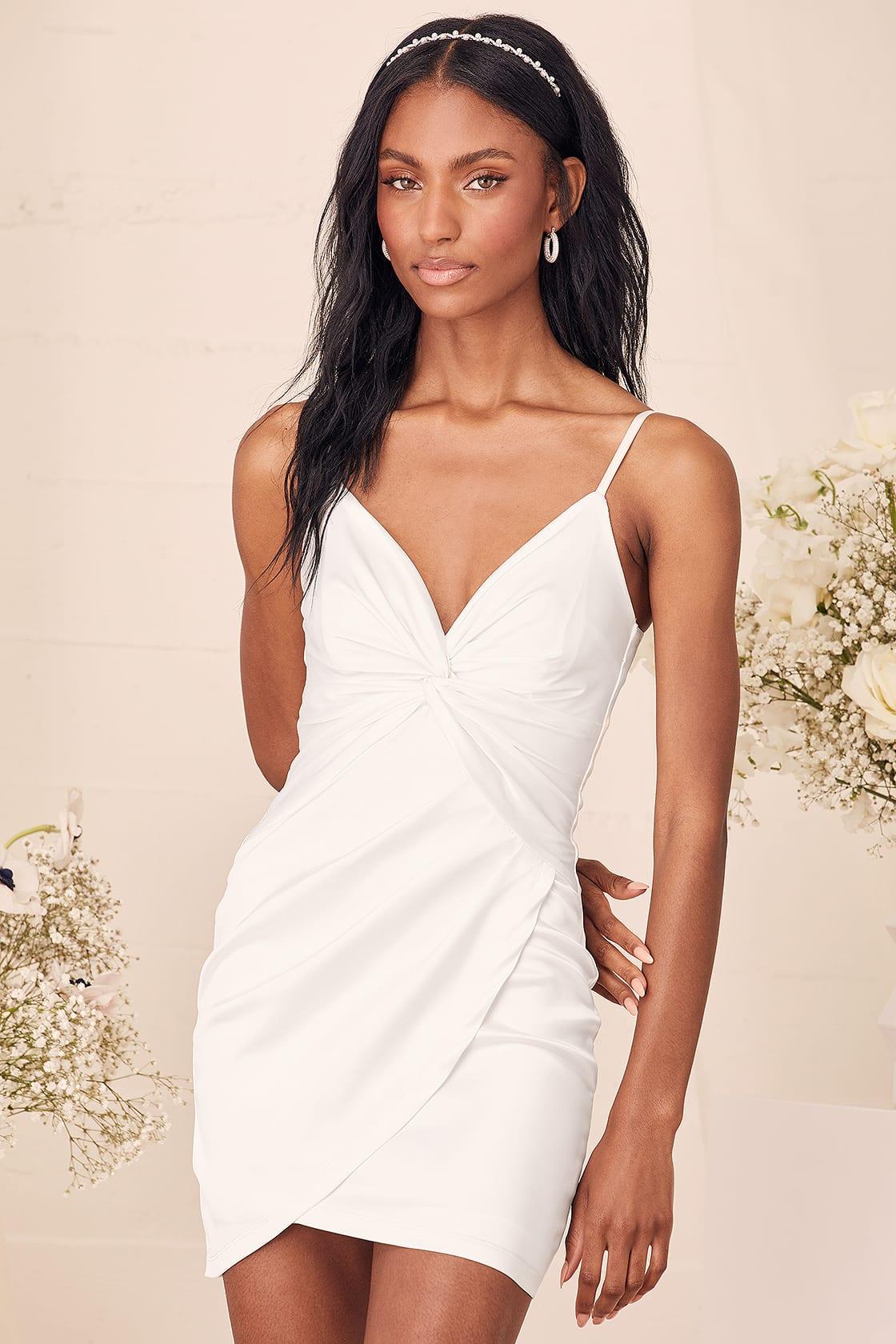 Shirt twisted white graduation dress