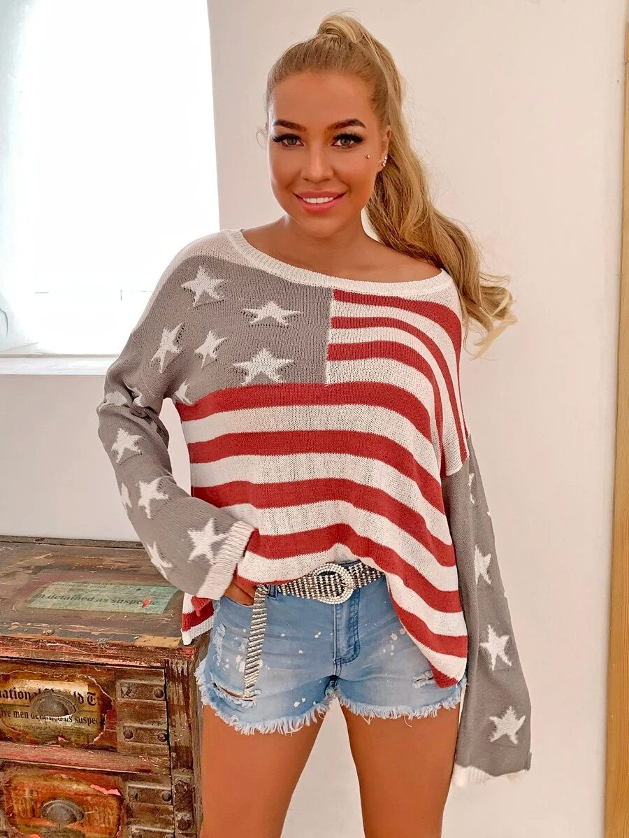 Cute casual 4th of July outfit with sweater and shorts