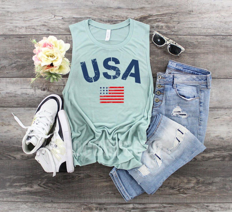 Mint green American flag top