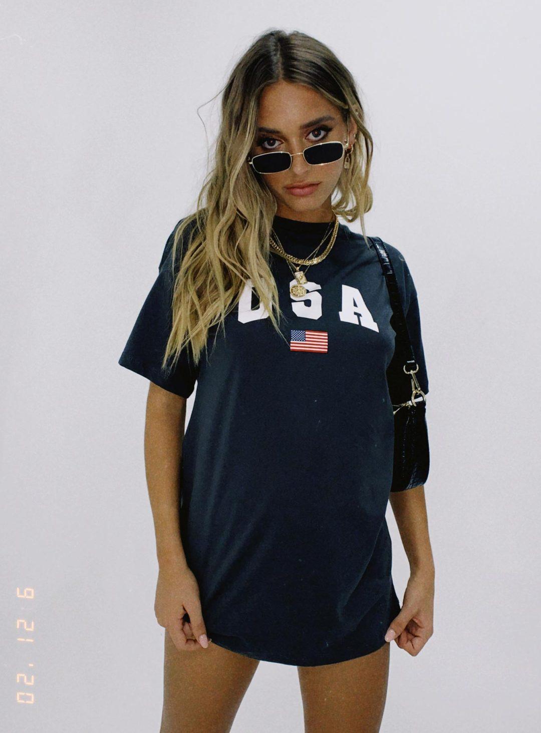 Dark grey USA flag t-shirt dress