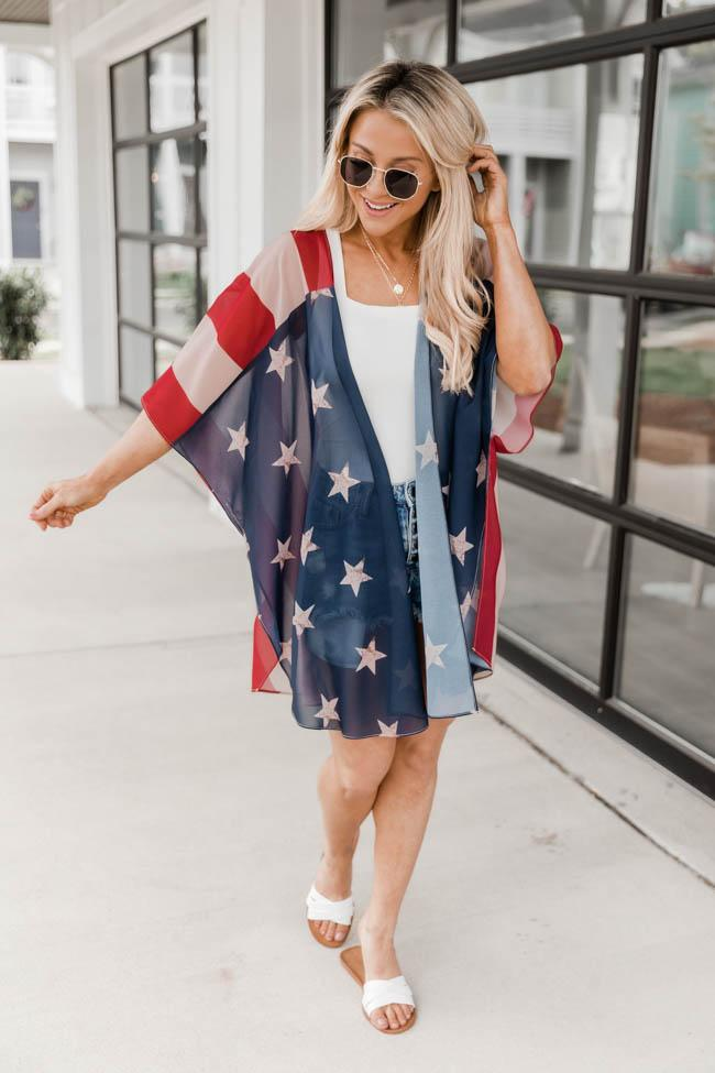Cute casual 4th of July outfit with kimono