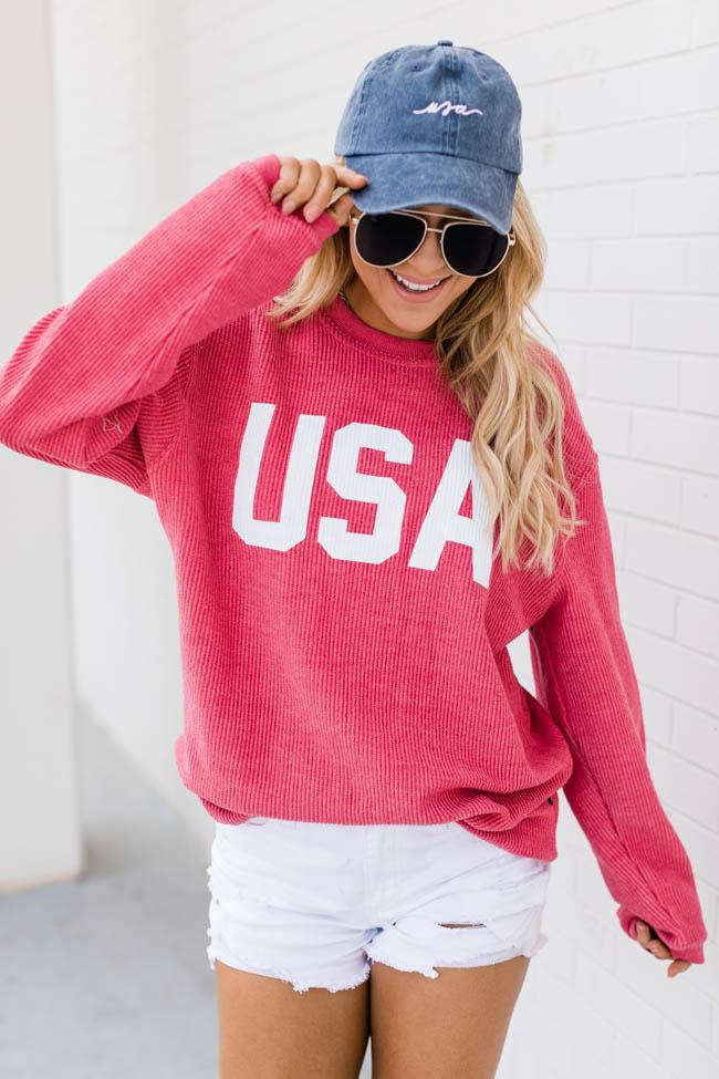 Cute 4th of July outfits with pink USA sweatshirt