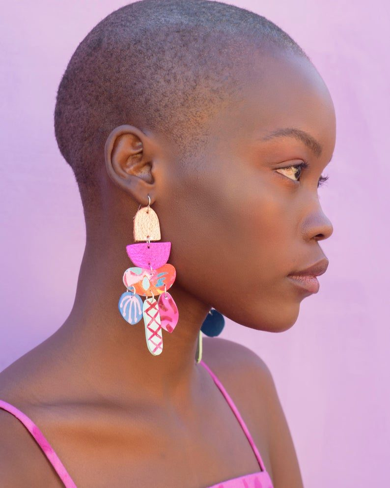 Colorful pink statement earrings