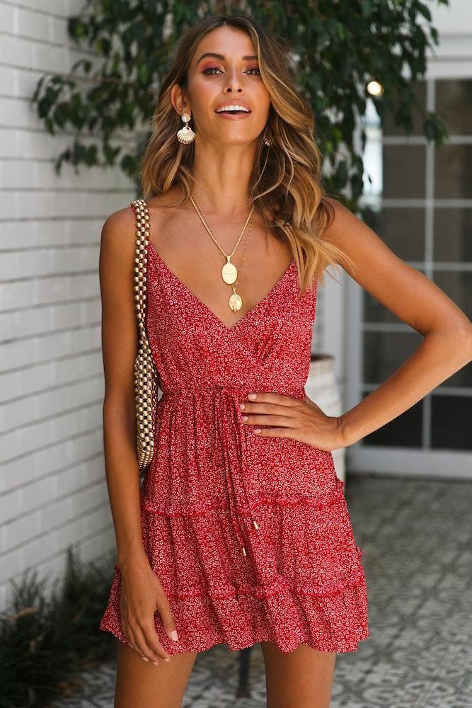 Short floral red summer dress