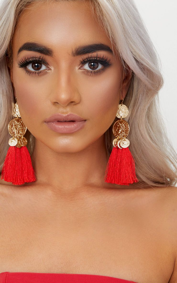 Red tassel statement earrings with gold coins