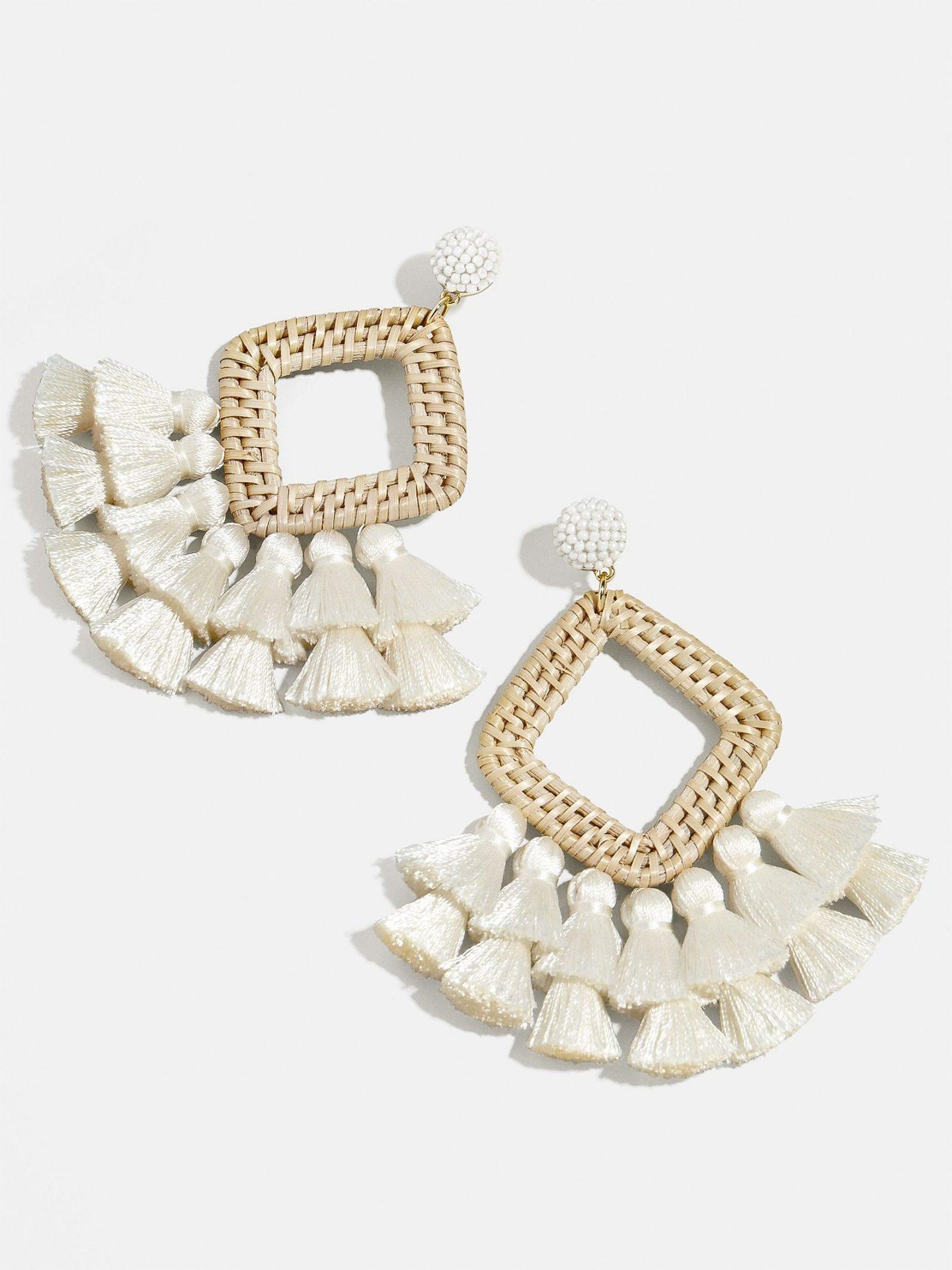 Cute white tassel drop statement earrings