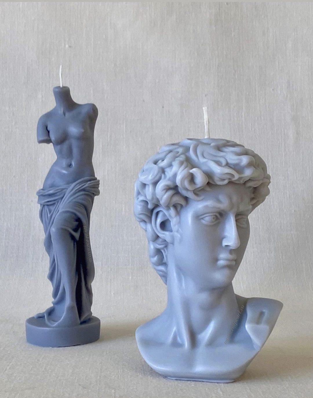 Trendy David'd bust sculptural candle, Greek god and goddess candles