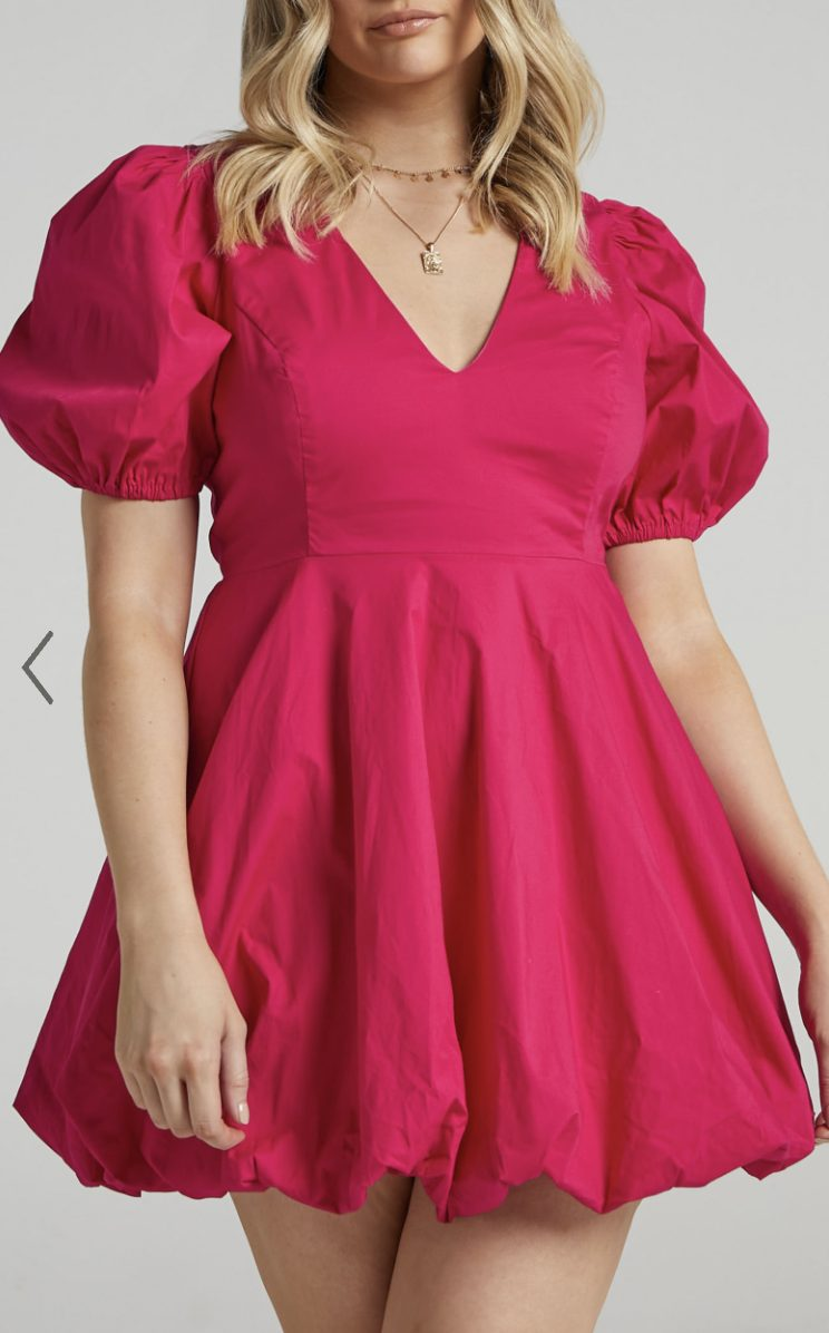 Cute hot pink dress with puffy sleeves