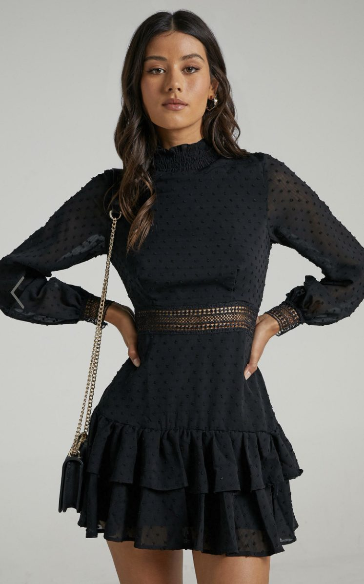 Business smart black dress with lace and ruffles