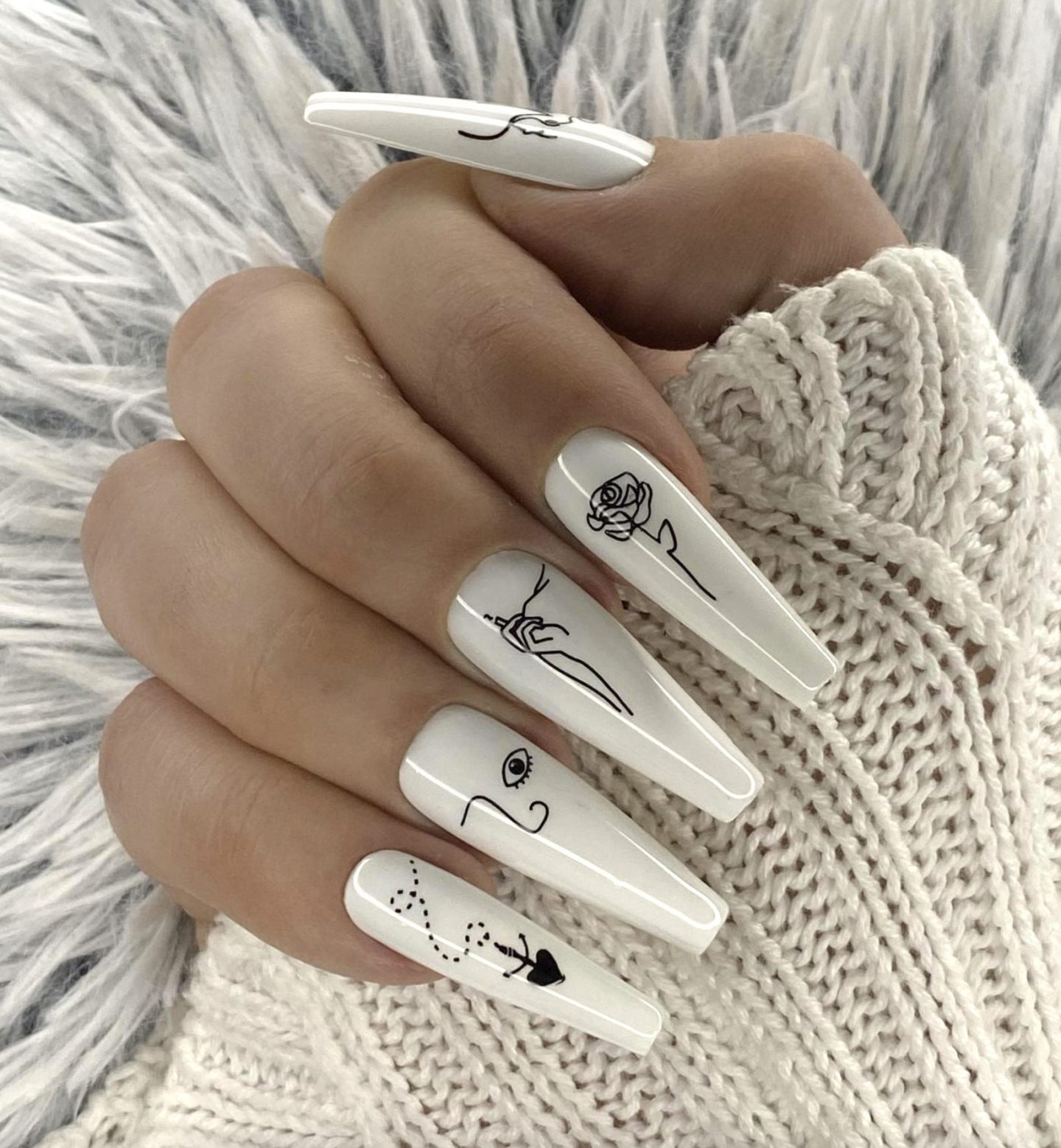 White abstract nails with lines