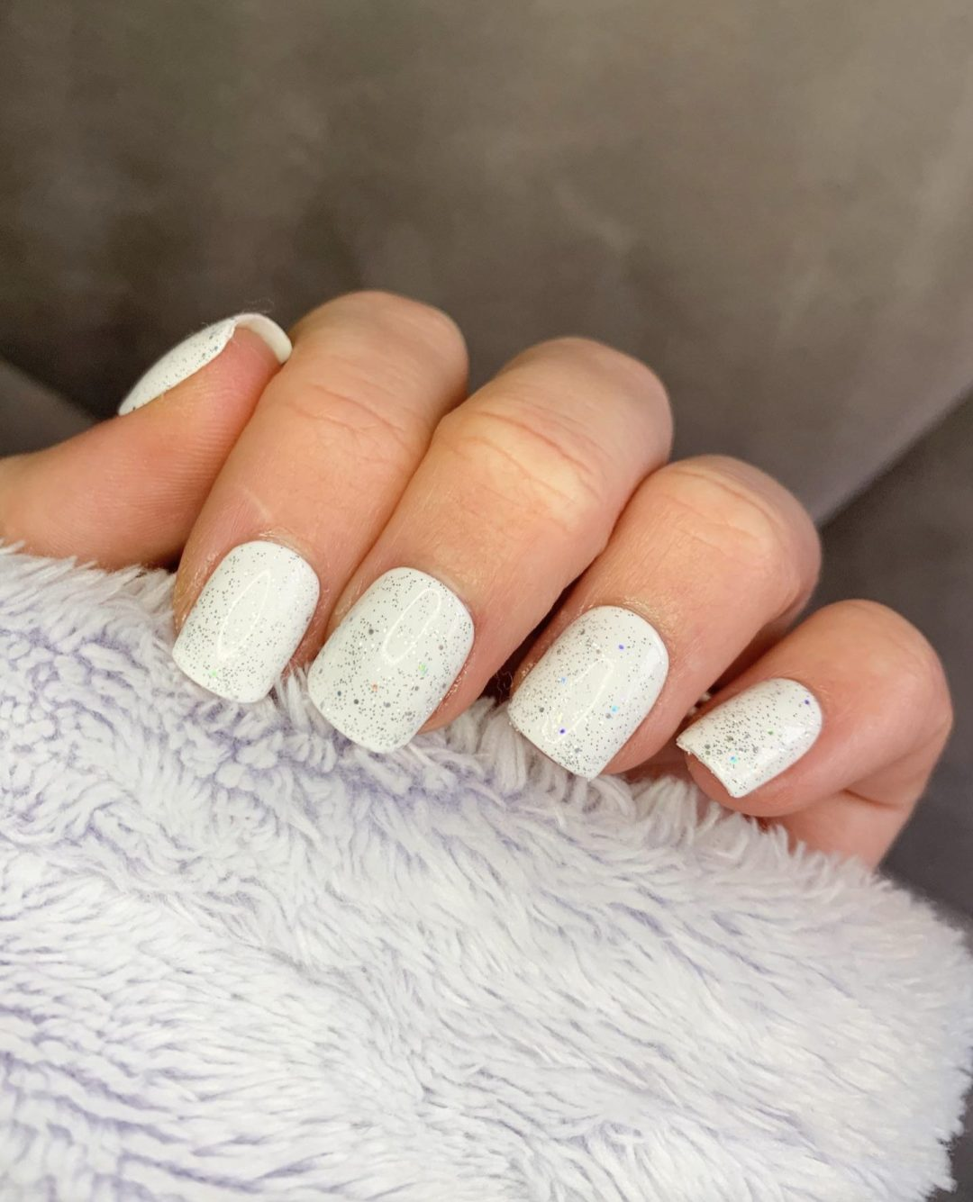 Short white square nails with glitter
