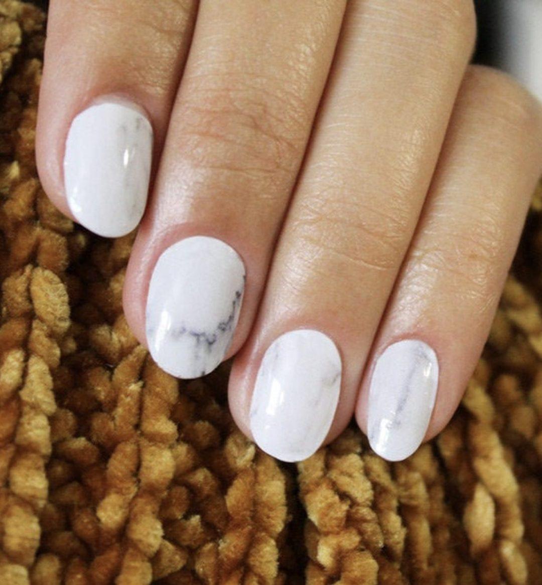 Short white marble nails