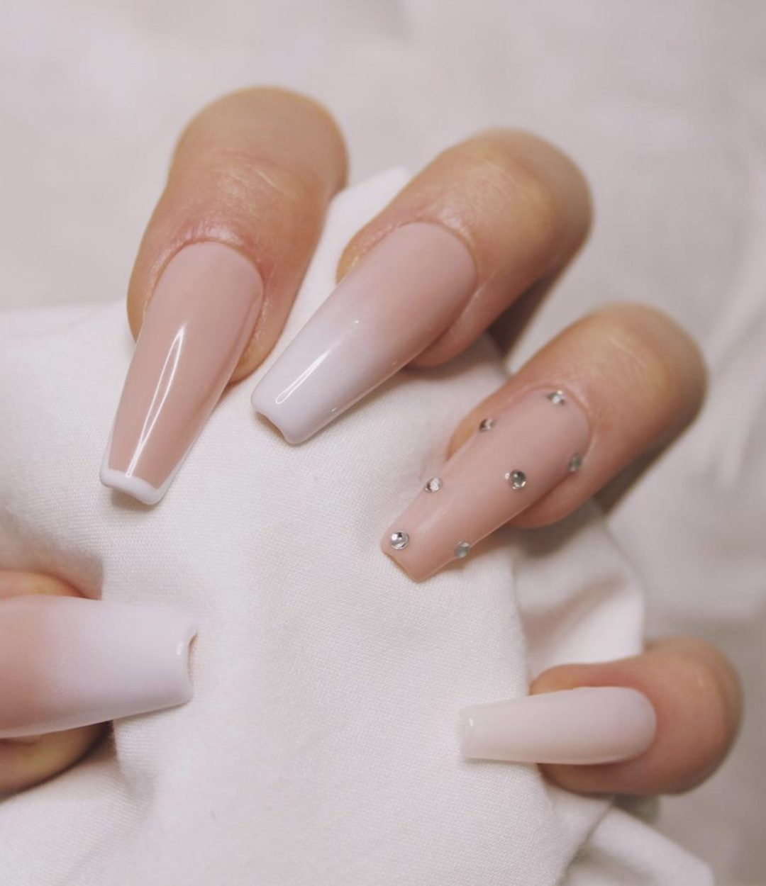 White and nude ombre nail designs with rhinestones