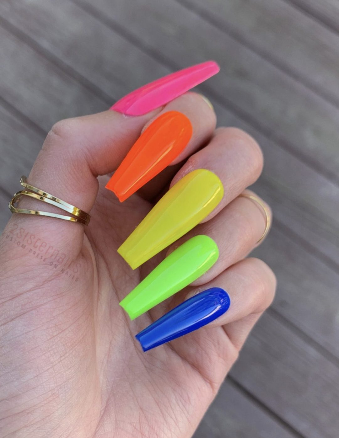 Long rainbow gradient nails in coffin shape