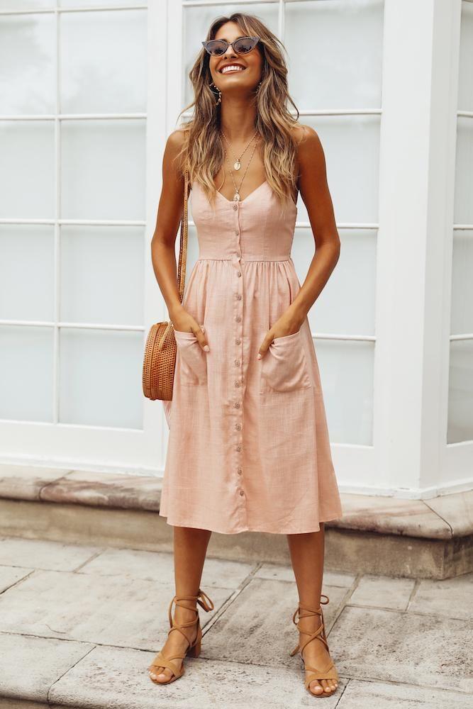 Casual pink midi dress