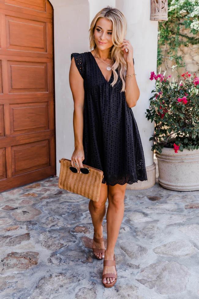 Cute black summer dress outfit
