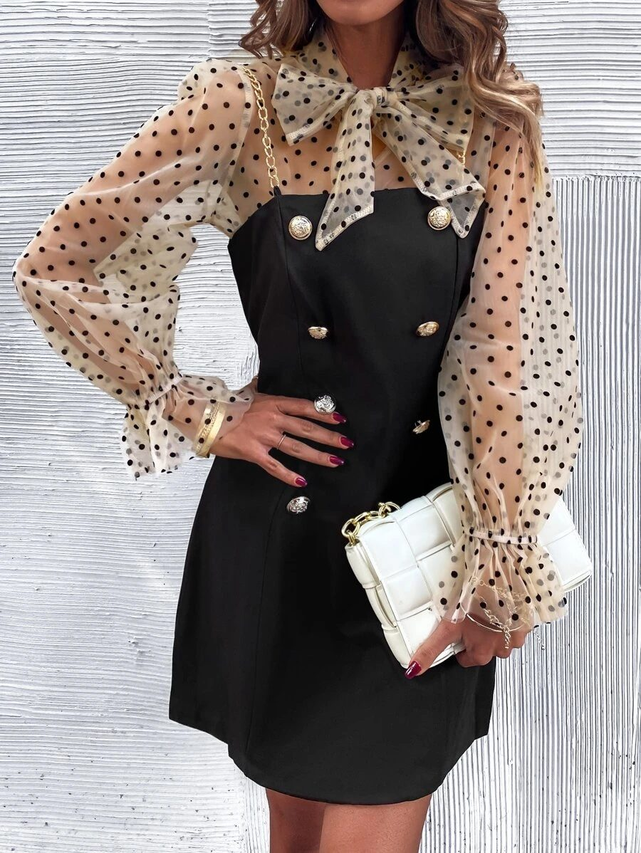 Cute black button up dress with bow