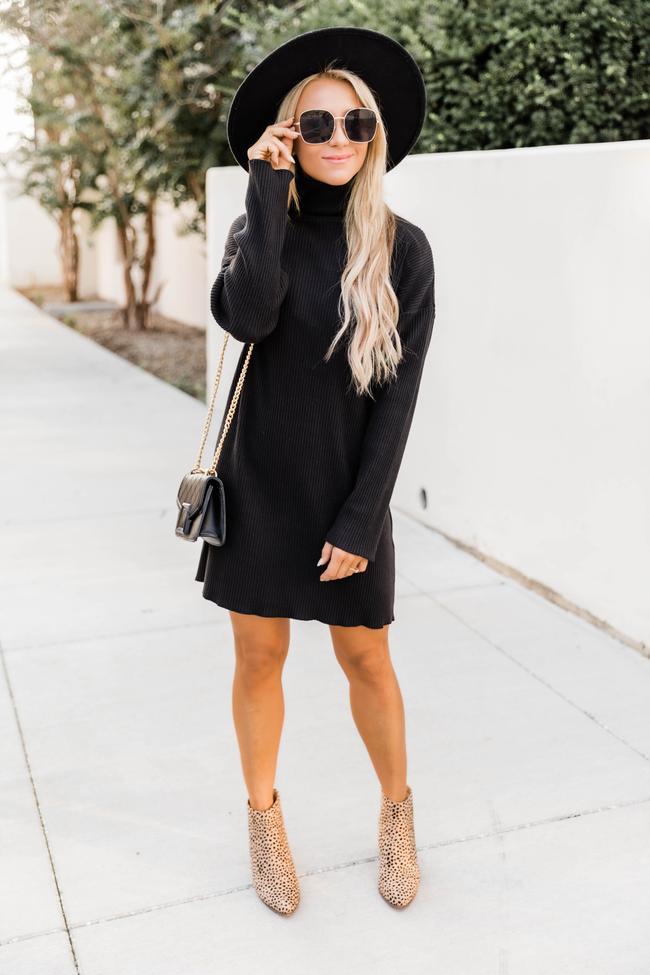 Black turtleneck dress, cute winter outfits
