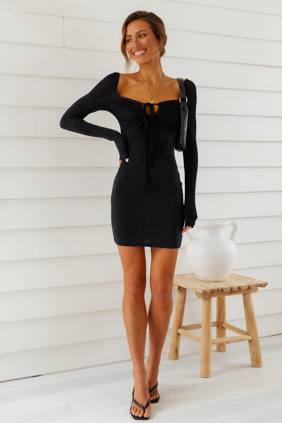 Casual black dress with long sleeves
